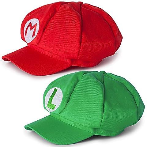Katara 2er Super Mario Mützen Set Mario und Luigi für Erwachsene oder Kinder