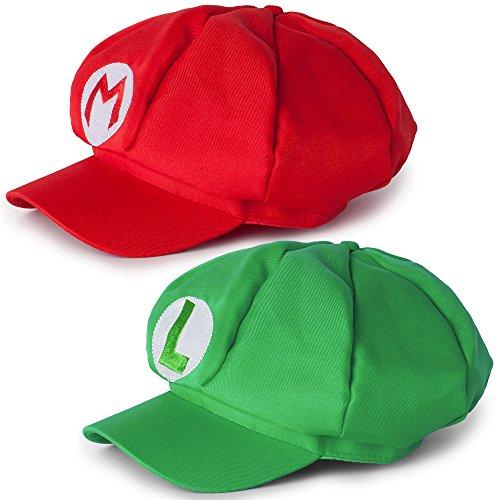 Mario Luigi 2er Set Mützen Caps, Kostüm Verkleidung Fasching Karneval Halloween Erwachsene, Rot Grün (Mario Halloween)