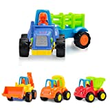 SXG Kunststoff Spielzeugauto 4 Baufahrzeuge in einem Set Pull Back and Go LKW Spielzeugauto Spielzeug für Kleinkinder