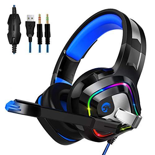Gaming Headset für PS4, PC, Xbox One, Smiler+ Surround Over Ear Kopfhörer mit Noise Cancelling Mikrofon, RGB LED Licht, weiche Komfort Ohrenschützer für Laptop, Mac, Nintendo - Sony Windows Xp Laptops