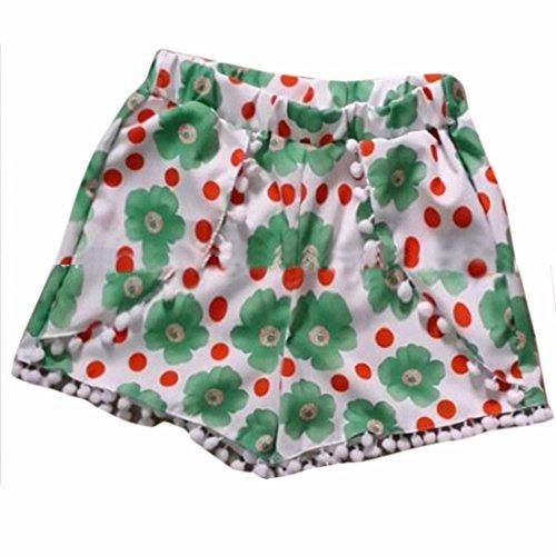 QIYUN.Z Nouvelle Femme ete Pantalons Courts Chaude Plage Vacances elastique a La Taille Des Pantalons Courts Petites fleurs vertes