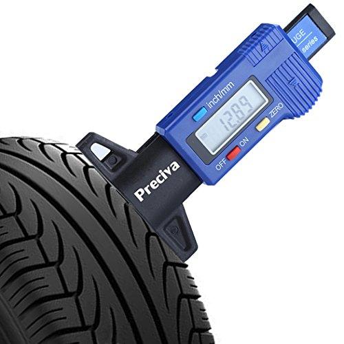 Reifenprofilmesser, Preciva Reifen Profil Tiefenmesser Digital Profilmesser Messchieber LCD Display mit Ersatzbatterie, 0 - 25 mm