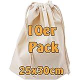 Baumwollbeutel Stoffbeutel mit Kordelzug Lunchsack Kosmetikbeutel Sockenbeutel Schmucksäckchen Spielzeugtäschchen für Kleinigkeiten natur 25x30cm 10 Stück