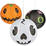 Elfen und Zwerge 3 x Laterne Halloweenparty Lampion Kürbis Geist Katze Gartenparty Halloween Gruselparty Deko Monsterparty Monster