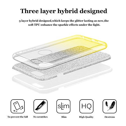 iphone 7 plus case, Hanlesi lucida copertura [bling chiarissimo] [slim fit] 3 strato ibrido con brio premio trasparente tpu custodia per apple iphone 7 Plus 5,5 Inch Oro trasparente