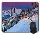 Juzijiang Tappetino Mouse da Gaming Stazione sciistica di Paesaggio di Alba di Inverno, Gomma Antiscivolo per Computer Portatile Mouse Pad