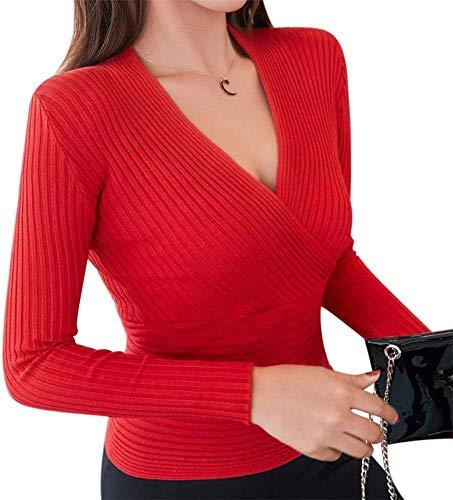 yangGradel Damen Freizeit Solid Strick Tunika Top Slim Langärmlig V-Ausschnitt Hemden Pullover Club - Rot