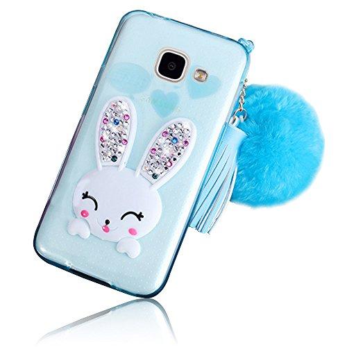 Sunroyal Samsung Galaxy A3 (2016 Version) SM-A310F Cover 3D Lovely Coniglio Custodia in Silicone Foldable Bunny Ear Case Trasparente Rabbit Soft Morbido TPU Bumper Protettiva Cassa con Orecchio Suppor Modello 02