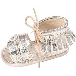 Tefamore Zapatos Sandalias de Borla de Cordon recién nacido Suela blanda Antideslizante para niños pequeños Bebé Sneakers (12, Oro)