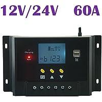 Samoleus Panel 60A 12V regulador solar de 24V controlador de carga de la batería del sistema