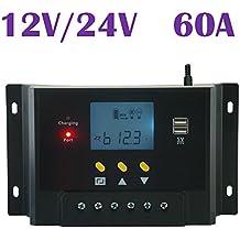 Samoleus Panel 60A 12V regulador solar de 24V controlador de carga de la batería del sistema solar casera uso en interiores LCD 60 controlador de carga solar Amps