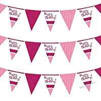 Perfectly Pink Girls Ladies Classy Happy Birthday, Special Occasion, Party Decoration Bunting Flags One Sided - 12FT (1 Pack)