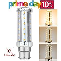 Escalera de intensidad regulable LED maíz luz bombilla, B22bayoneta blanco cálido 3000K 3LED bombillas, de repuesto de 60W de intensidad regulable sin regulador de intensidad para lámparas de mesa, mesilla de noche lámpara de pared, de techo, cocina, terraza (7W-3.5W-1W)