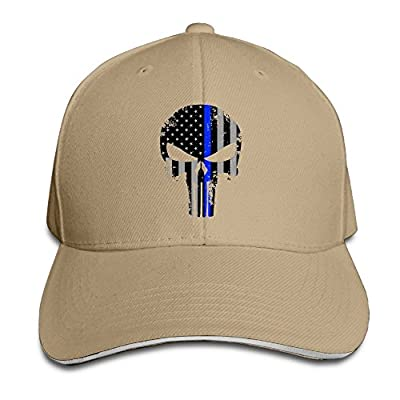 Hittings Thin Blue Line Punisher Sandwich Peaked Hat/Cap Natural