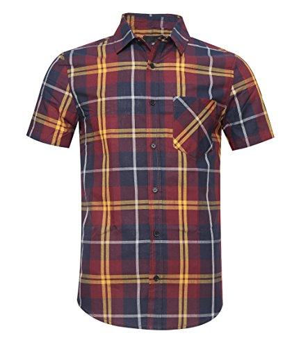 SOOPO Popelinehemd Regular Fit Kariertes Kurzarmhemd Aus Baumwoll Rot L -