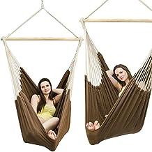 Amaca XXL | Amaca in tessuto di cotone per 2 persone | amaca peso max. 150 kg | grande amaca per dondolarsi in tessuto 185x130 cm | dondolo 100% cotone | Amaca incl. perno girevole | marrone