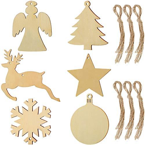 Tatuo 60 Stück Weihnachten Holz Tags Ornamente Holz Ausschnitt Hängen Holz Handwerkliche Verzierungen mit 60 Stück Schnüren für Weihnachten Hängen, 6 Formen
