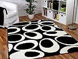 Maui Designer Teppich Schwarz Creme Weiß Curley