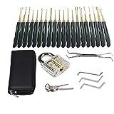 Dietrich Werkzeug, 25-teiliges Lock Picking Werkzeug mit 1 Transparent Trainingsschloss, Lockpicking Training Guide für Anfänger und Pro Schlosser mit einem Leagher Case (Schwarz)