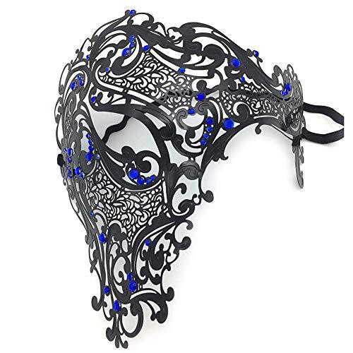 Halloween-Dame Girl Half Face Mask Handpainted Antique Exquisite venezianischen Stil Herren Ritter Maske Karneval Erwachsene Rolle Spielen Party Ball Halloween-Maskerade,5
