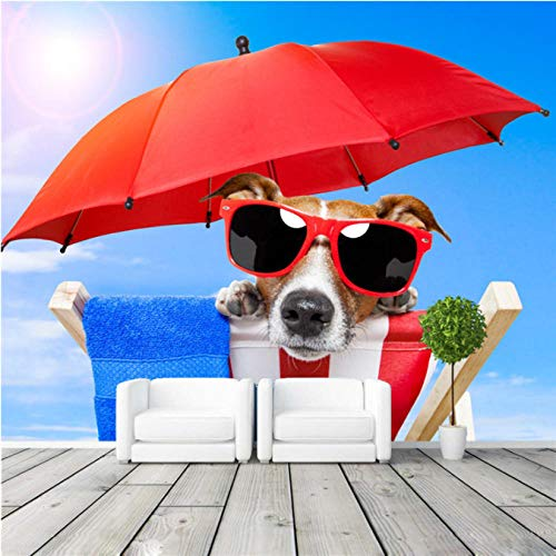 Mbwlkj Sonnenbrille Hund Fototapete Sonnenlicht Strand Fototapete 3D-Ansicht Tapete Kinderzimmer Dekor Schlafzimmer Home Decoration-250cmx175cm