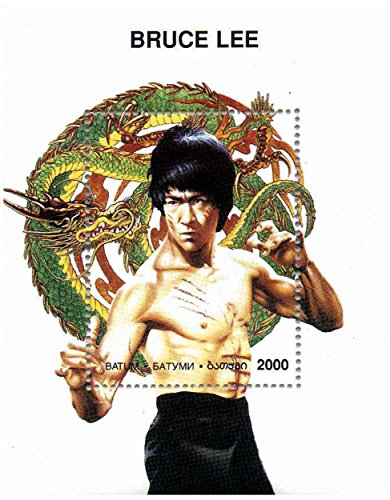 Bruce Lee francobollo minifoglio - Mint e timbro minifoglio smontato - Enter the (Francobolli Fu)