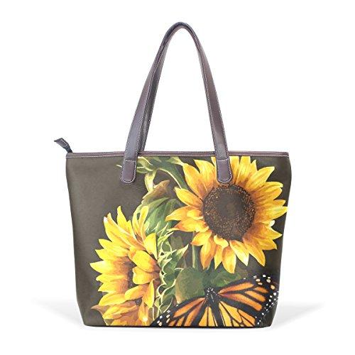 COOSUN Damen Sonnenblume und Schmetterling Foto Pu Leder Große Einkaufstasche Griff Umhängetasche