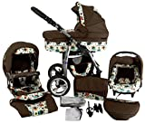 Chilly Kids Dino Kinderwagen Safety-Sommer-Set (Sonnenschirm, Autositz & ISOFIX Basis, Regenschutz, Moskitonetz, Getränkehalter, Schwenkräder) 58 Braun Eule