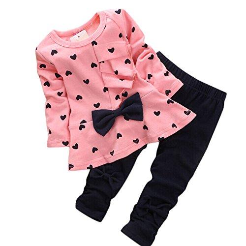 T-shirt + Hosen Kleinkind, Sunday Säuglingsbaby Mädchen Druck Kleidungs Bogen Oberseiten Ausstattungen Eingestellt Neue Baby Herz Förmigen Print Bow Nette 2 Kinder Set (Rosa, 12-24 M) (Mädchen Hund Weihnachten Kleidung)