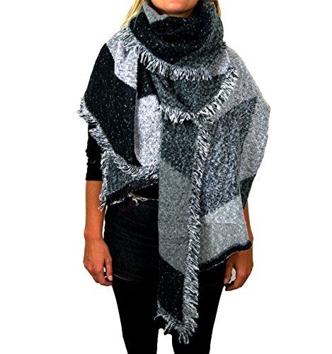 Damen Herbst Winter Schal XXL riesig und extrem flauschig dick Baumwolle Poncho Scarf Blogger kariert Fransen (A-06)