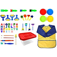 Lumsburry Kit de Aprendizaje temprano de Arte y Manualidades de Pinceles de Pintura con esponjas de