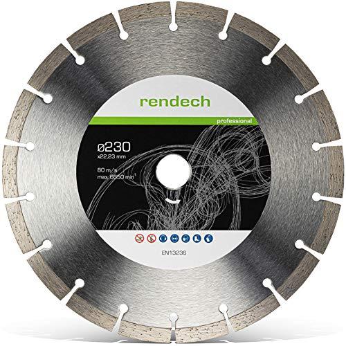 Rendech® Diamantscheibe 230mm - Profi Qualität geeignet für Beton, Granit, Stein, Pflaster uvm. Diamant-Trennscheibe für den beruflichen Dauereinsatz