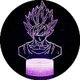 3D Illusion Lampe NHSUNRAY 7 Farben LED Touch Tischleuchte mit Fernbedienung Nachtlicht Für Schlafzimmer Home Decoration Hochzeit Geburtstag Weihnachten Valentine Geschenk Romantische Atmosphäre (Dragon Ball)