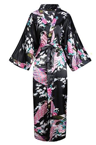 BABEYOND Damen Morgenmantel Maxi Lang Seide Satin Kimono Kleid Pfau Muster Kimono Bademantel Damen Lange Robe Schlafmantel Girl Pajama Party (Schwarz)