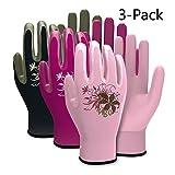 Vgo Glove Gants de Jardinage et de Travail en Nitrile, Femme (3 Paires, Violet & Rose & Vert, 7/S & 8/M & 9/L)