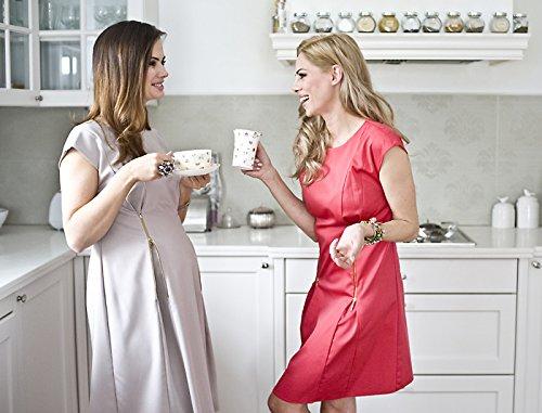 Elegantes Umstandskleid, Abendkleid, Brautkleid, Hochzeitskleid für Schwangere, Modell: Mirabel, Cappuccino - 4