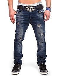 24brands Jeans denim pantalon vintage à cigarettes jambe à la ligne droite stretch - 3021, Size:30;Colour:Blue
