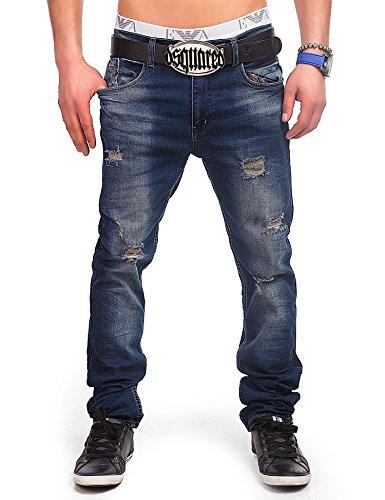 24brands Jeans pantaloni in denim uomo effetto usato distrutto blu a sigaretta cavallo basso clubwear vintage look - 3021, Size:30;Colour:Blue