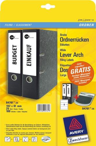 Avery Zweckform, L4761-25, Etikett für breite Ordner, kurz, 192x61mm, weiss, Inhalt: 25 Blatt, AKTIONSARTIKEL: inkl. gratis Mousepad