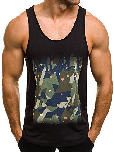 OZONEE Herren Tanktop Tank Top Tankshirt T-Shirt mit Print Unterhemden Ärmellos Weste Muskelshirt Fitness Motiv Breezy 171091 Schwarz XL (Motiv Baumwolle Weste)