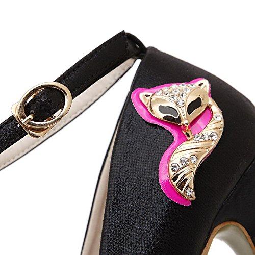 VogueZone009 Femme Rond Fermeture DOrteil Boucle Matière Mélangee Mosaïque à Talon Haut Chaussures Légeres Noir