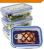(4er set) Meal Prep Container aus Glas inkl. fest verschließbaren Deckeln, BPA-frei, luftdicht, auslaufsicher, für Mikrowelle, Ofen, Gefrierfach, Spülmaschinenfest (3,5 Cup, 28 Oz, Rechteck) 830ml Frischhaltedosen