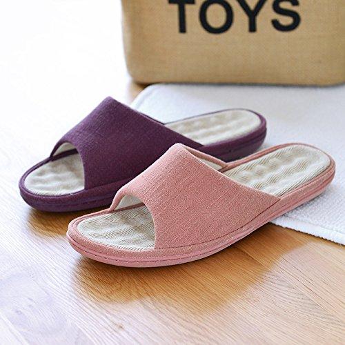 Happy Lily Unisex Slip-on pantofole anti-scivolo?Di misto cotone e lino ffnen Toe sandali Mules umidità Wicking Flax scarpe F ¨ ¹ r adulti Pink