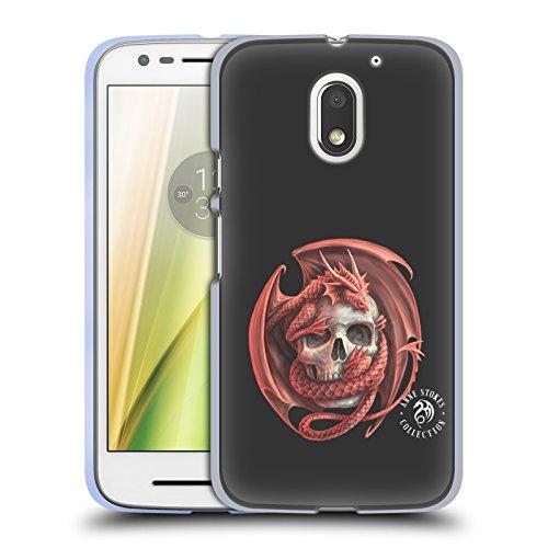 Official Anne Stokes Dragon and Skull Fire Tribal Soft Gel Case for Motorola Moto E3 Power