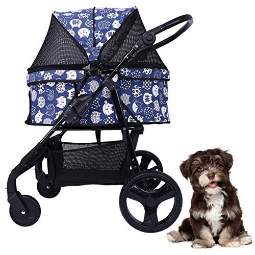 Kinderwagen faltbar für kleine mittelgroße Hunde Katzen 4-Rad hundebuggy, Easy Walk Travel Transporter Träger-Jogger-Buggy, mit großem Ablagekorb, Hundewagen bis 30 kg (schwarz blau) Hundebuggy
