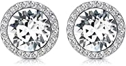 KesaPlan Crystals Stud Earrings for Women, Made of Swarovski Crystals, Round-Cut Halo Swarovski Crystals Earri