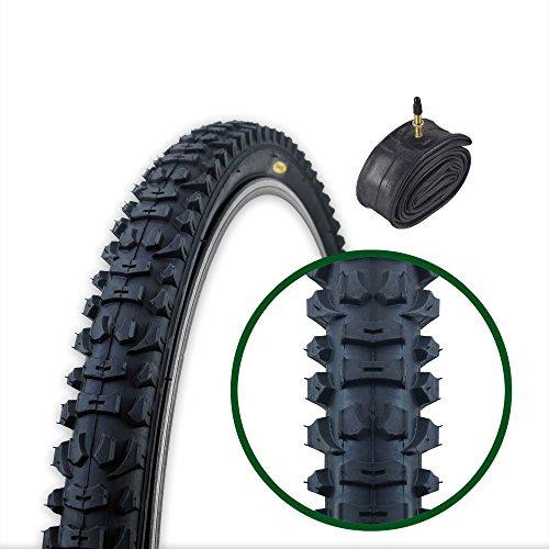 Fincci MTB Mountain Hybrid Bike Fahrrad Reifen 26 x 1.95 54-559 und Sclaverandventil Schläuche 48mm