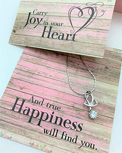 Smiling wisdom – collana con ciondolo a forma di cuore – carry joy in your heart, and you will find true happiness – set regalo di san valentino per lei, donna, figlia, amica, argento rosa