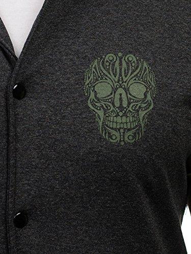 BOLF – Felpa senza cappuccio – Sweat-shirt – Bottoni – Stampa – Motivo – Uomo [1A1] Grafite-Verde