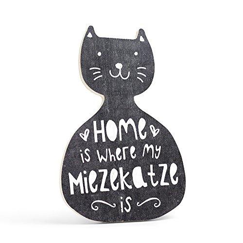 h - KATZE - HOME IS WHERE MY MIEZEKATZE IS - Dekoschild von ARTFAVES (Lehrer-abschluss-einladungen)